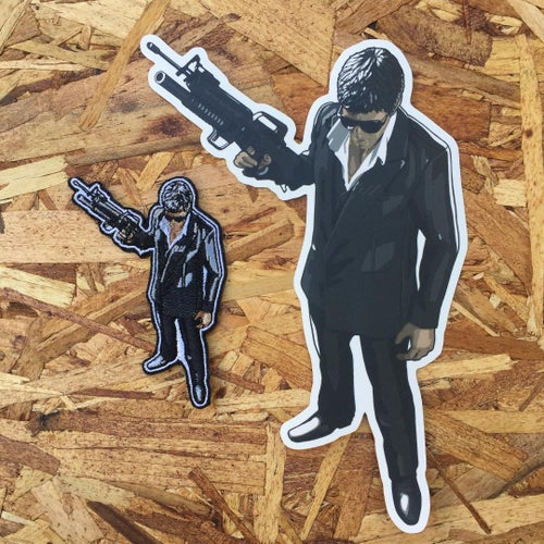 Image of Say Hello To My Little Friend by The Dark Inker (Giant Sticker & Patch)