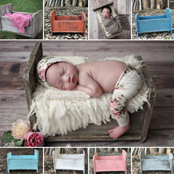 Image of Newborn Prop Bed, Bitsy, Woodsy, Hand Crafted, Crate Bed, Blue, Mustard, Gray Wood Photo Prop