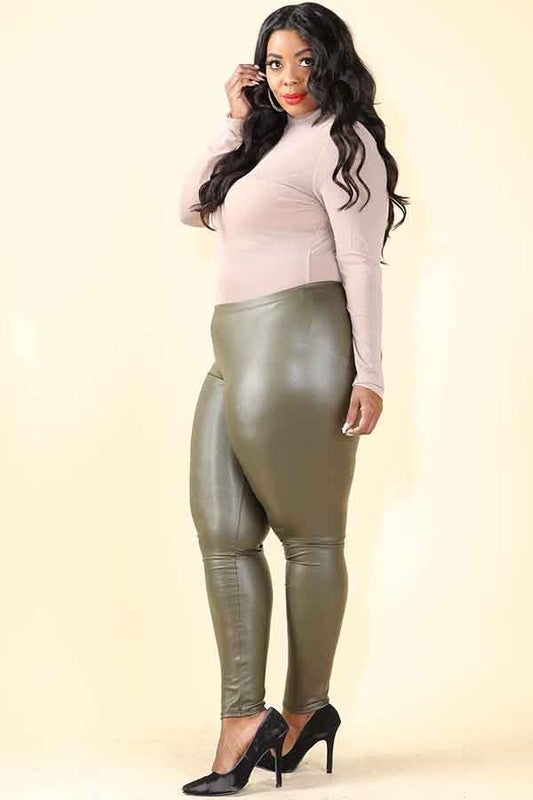 Image of faux leather leggings