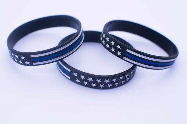 Image of (3) Blue Line Flag Silicone Bracelets