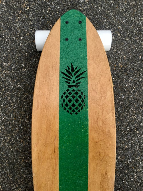 "Image of Green w/ yellow paint splatter 36"" Pineapple Kicktail"