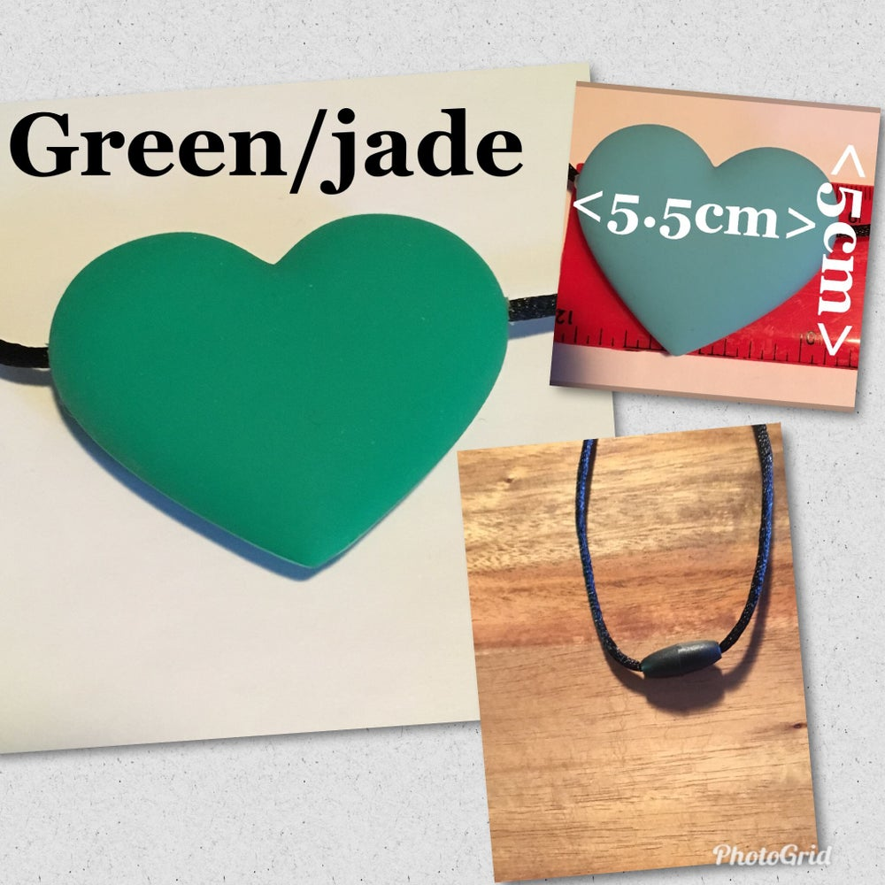 Image of Green HEART chewable necklace  with safety clasp