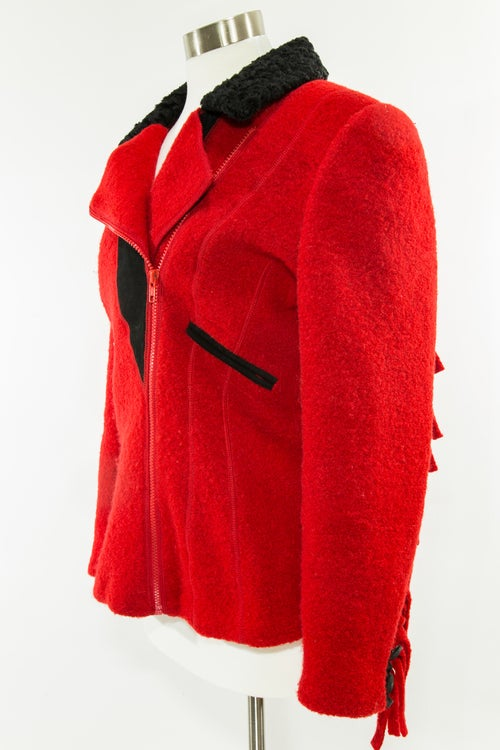 Image of Red Fringe on Fleece