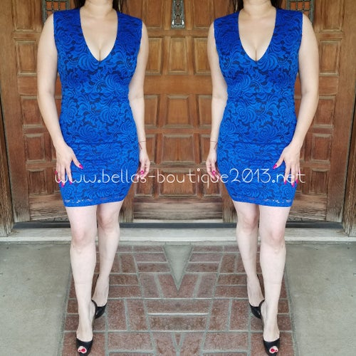 Image of Jaime Lace Dress (royal blue & red)