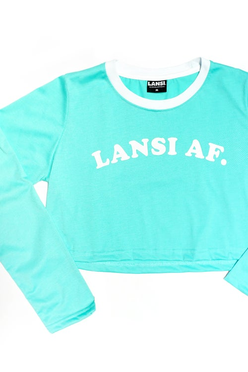 "Image of LANSI ""Abercrombie"" L/S Cropped Top (Turquoise)"