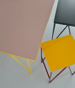 Image of Colour Play Dining Table in Mushroom and Yellow