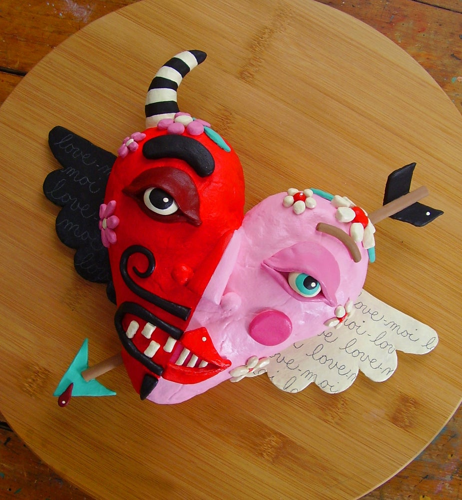 Image of Hand-sculpted Devil Angel Heart Twins Clay Figure