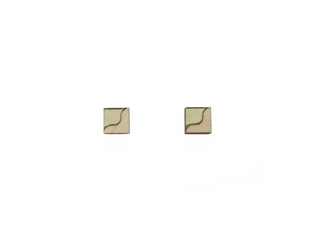 Image of TWO TONE EARRINGS - BRONZE