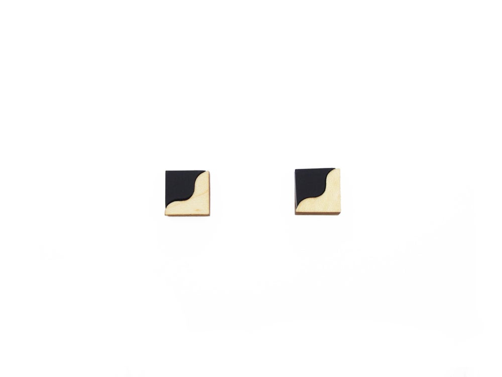 Image of TWO TONE EARRINGS - BLACK