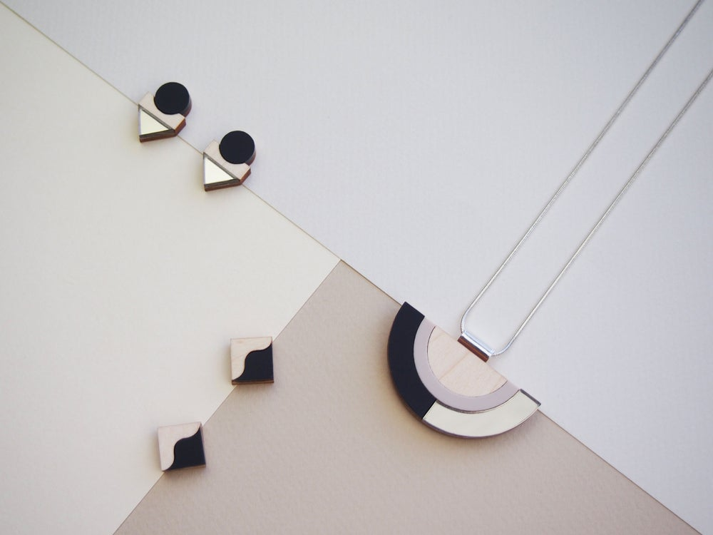 Image of TWO TONE EARRINGS - BLACK