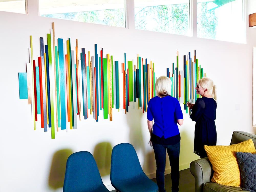 Image of 'GOOD VIBES'   Mid Mod Wall Art   Wood Wall Art   Wood Wall Sculpture   Large Wall Art  
