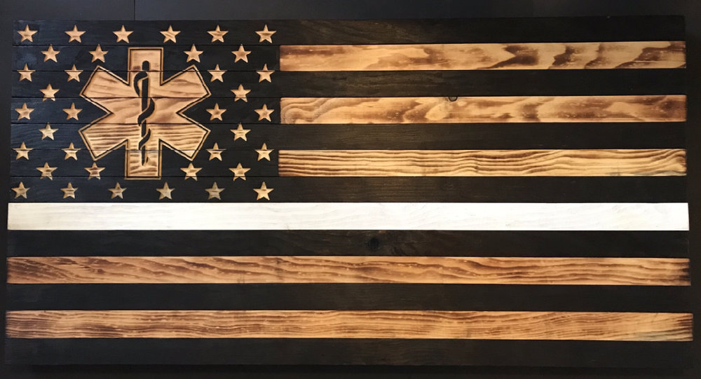 """Image of Thin White Line Flag with """"Star of Life"""""""