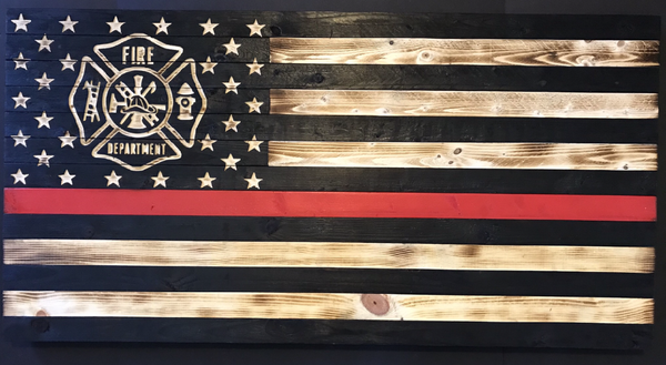 Image of Wooden Red Line Flag with Maltese Cross