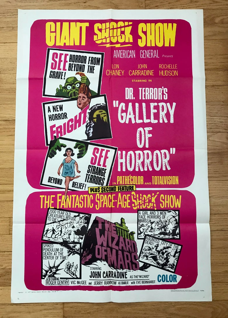 Image of 1967 DR. TERROR'S GALLERY OF HORROR/WIZARD OF MARS Original U.S. Double-Bill One Sheet Movie Poster