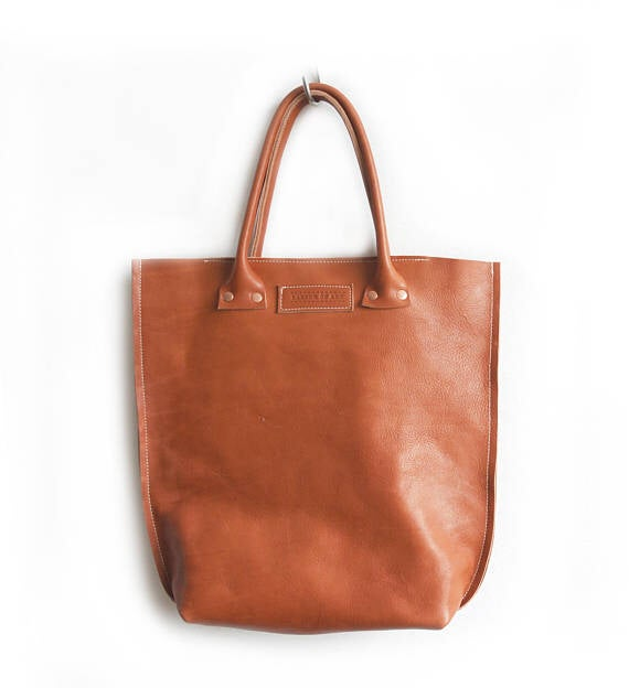 Image of Cognac Colored Vegtan Leather Shopper