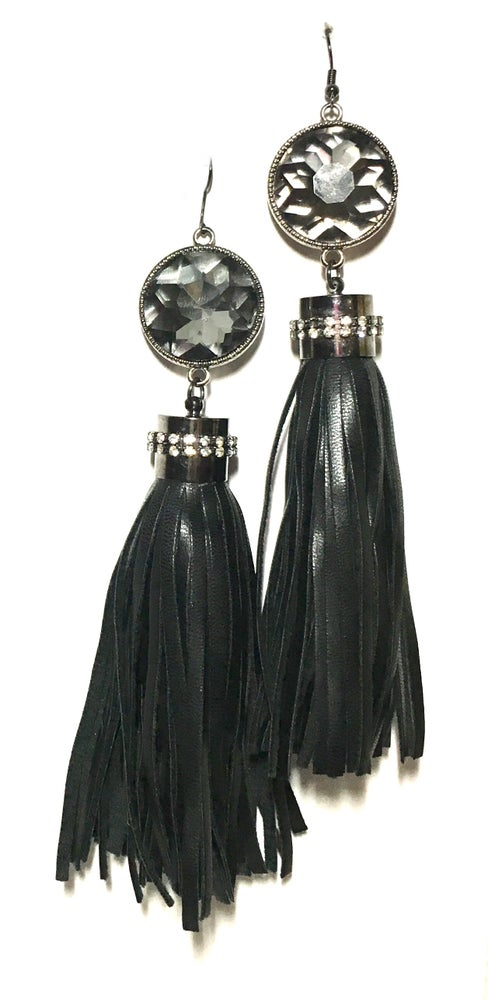 Image of Leather and Ice Tassel Earrings