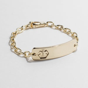 Image of WINNOW Solid 14k Gold Engraved Medical ID Bracelet