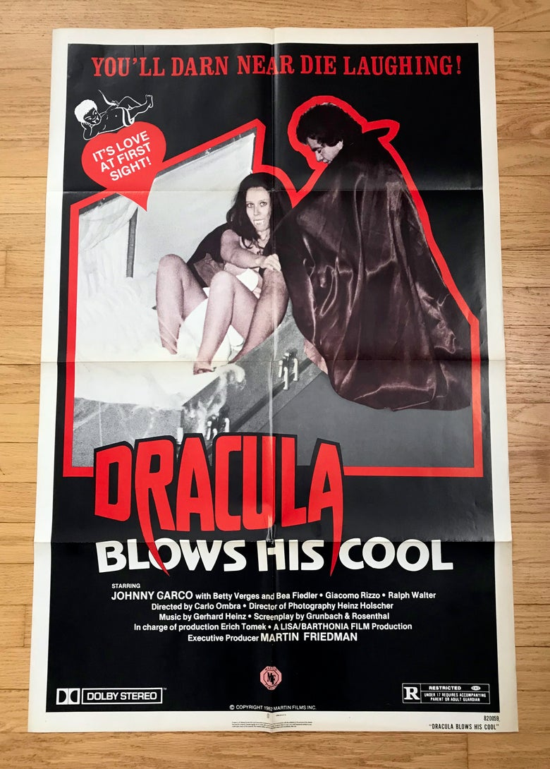 Image of 1982 DRACULA BLOWS HIS COOL Original U.S. One Sheet Movie Poster