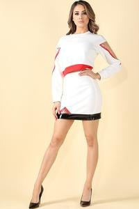Image of Vinyl color blocked top and skirt set