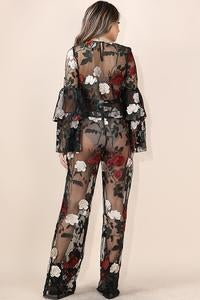 Image of Rose embroidered top and sheer pants