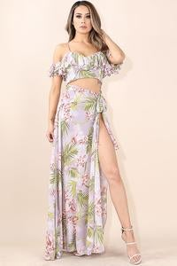 Image of Printed ruffle top and skirt set