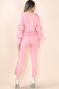 Image of Ruffle detail pull over and jogger set