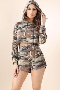 Image of Camo hoodie short set
