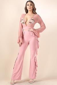 Image of Patch detail sheer top and wide leg pant