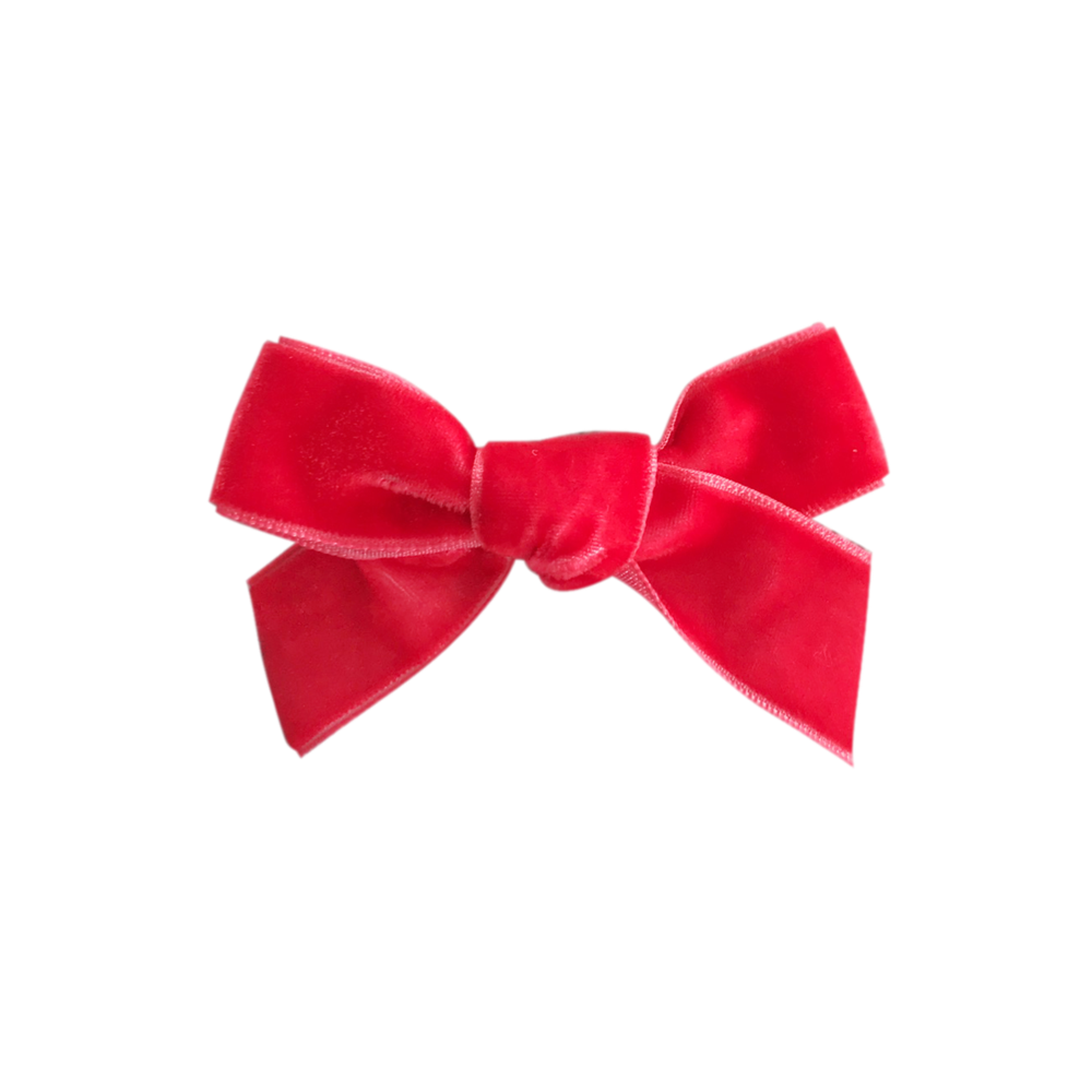 Image of Strawberry French Velvet Petit Bow Clip