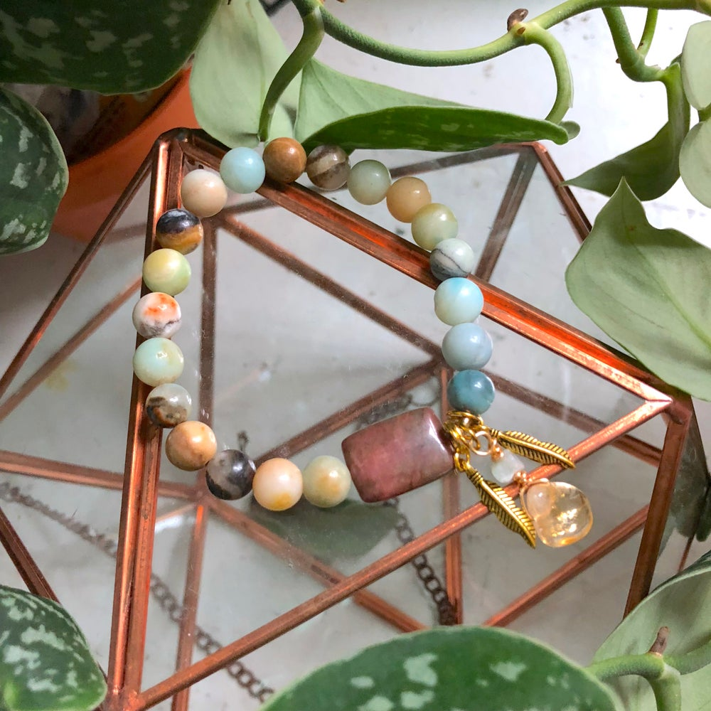 "Image of ""Sweet Soother"" Amazonite, Rhodonite + Citrine Bracelet"