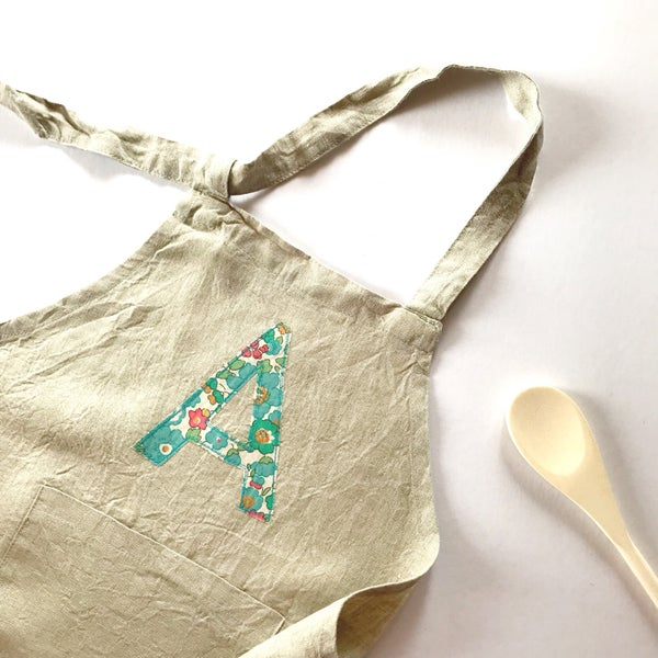 Image of Children's personalised apron in Natural