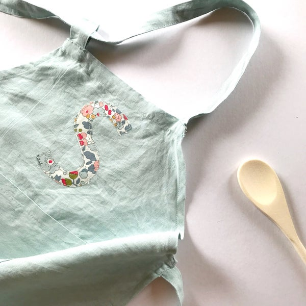 Image of Children's personalised apron in Sea Foam