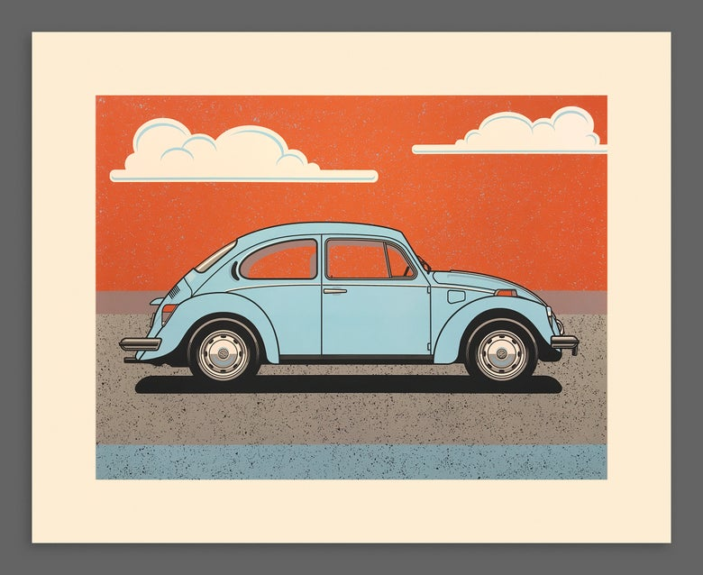Image of VW Beetle Silkscreen Print