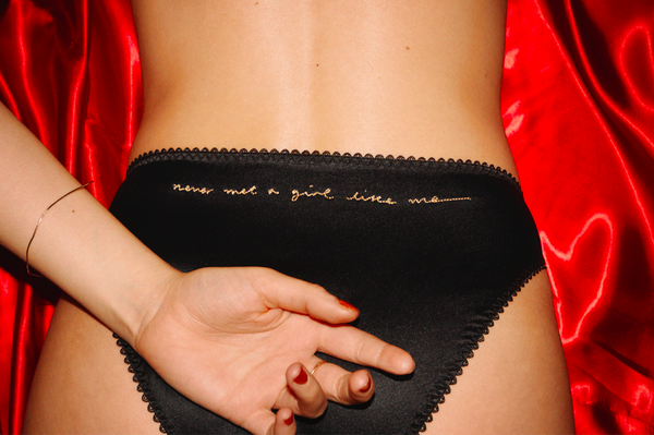 Image of Never Met A Girl Like Me Black Silk Knickers