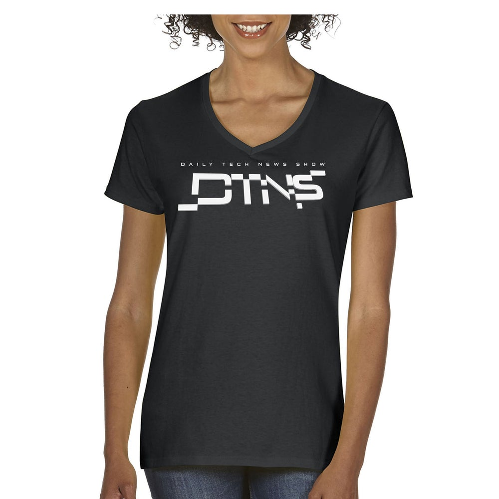 Image of DTNS New Logo Ladies V Neck Tee Shirt
