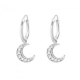 Image of Crystal Moon hoops (sterling silver)