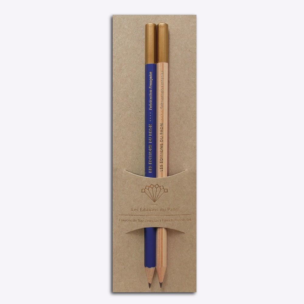 Image of PACK CRAYONS HB - bleu + naturel