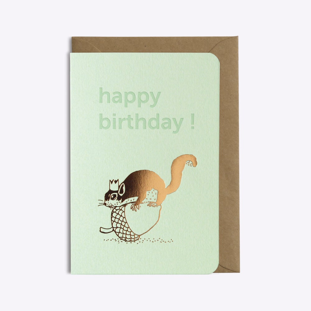 Image of CARTE HAPPY BIRTHDAY SQUIRREL VERT D'EAU