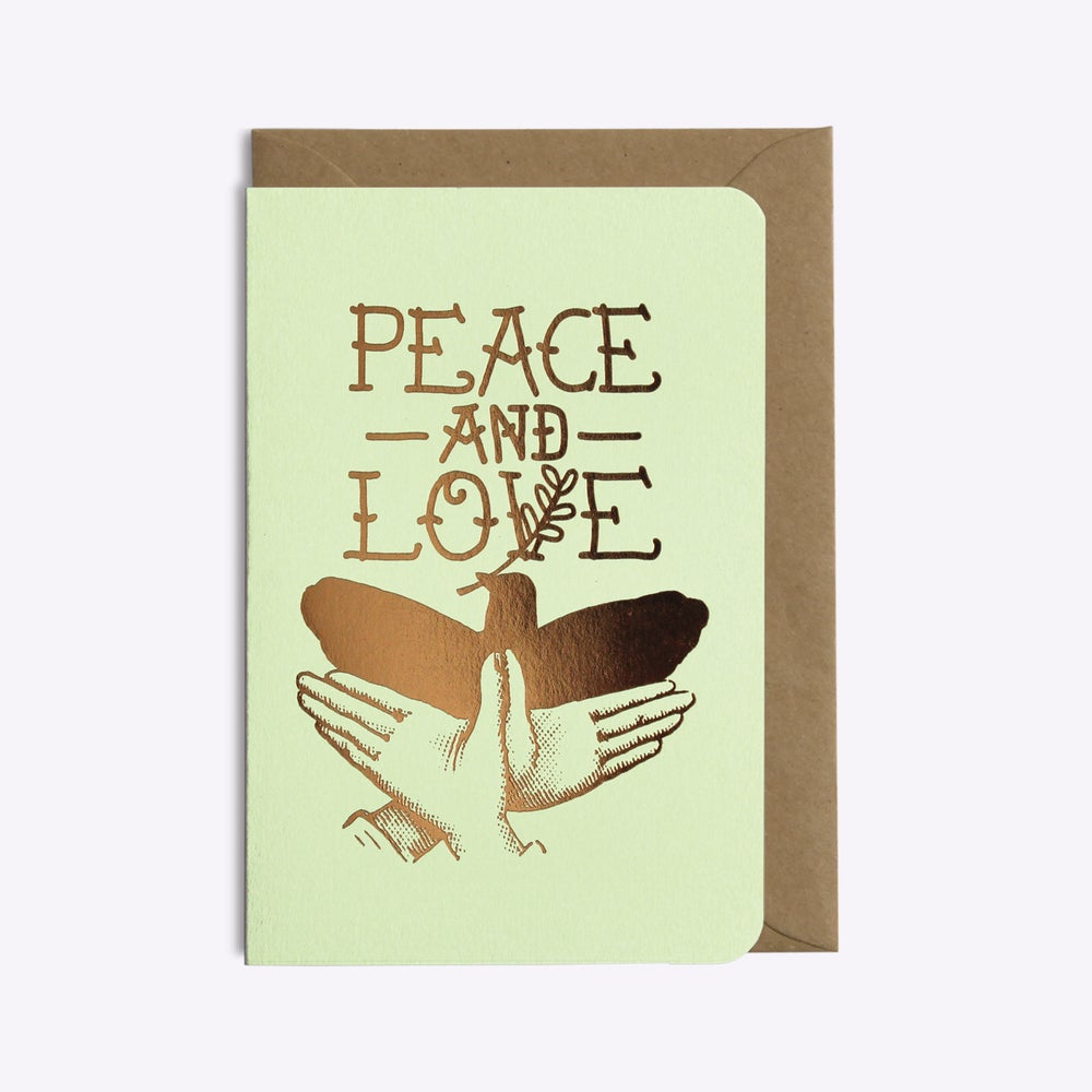 Image of CARTE PEACE AND LOVE VERT PISTACHE