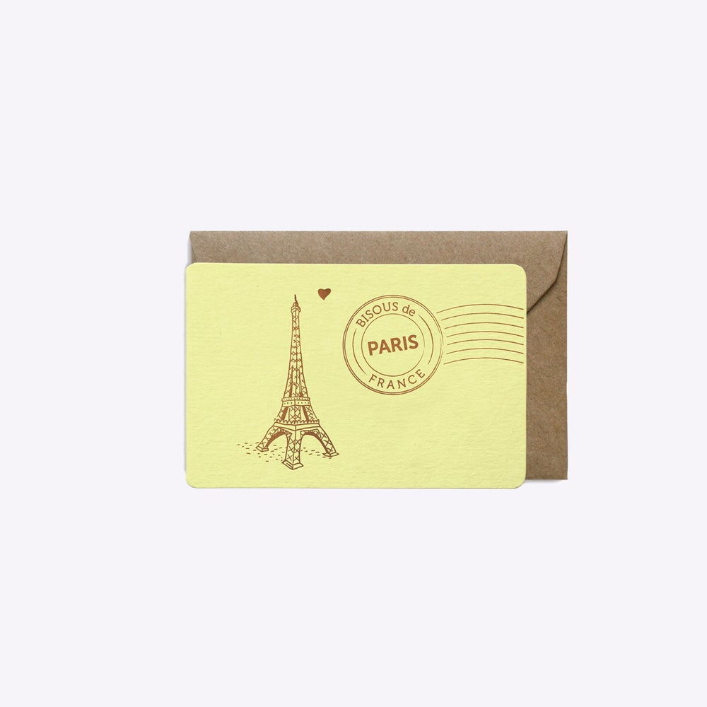 Image of MINI-CARTE BISOUS DE PARIS JAUNE PASTEL