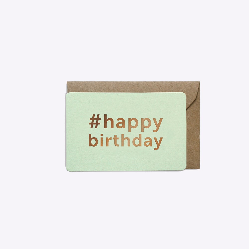 Image of MINI-CARTE #HAPPYBIRTHDAY VERT D'EAU