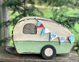 Image of Mid Century Modern Style, Jadeite Green Newborn Wood Camper Trailer Photography Prop Glamper