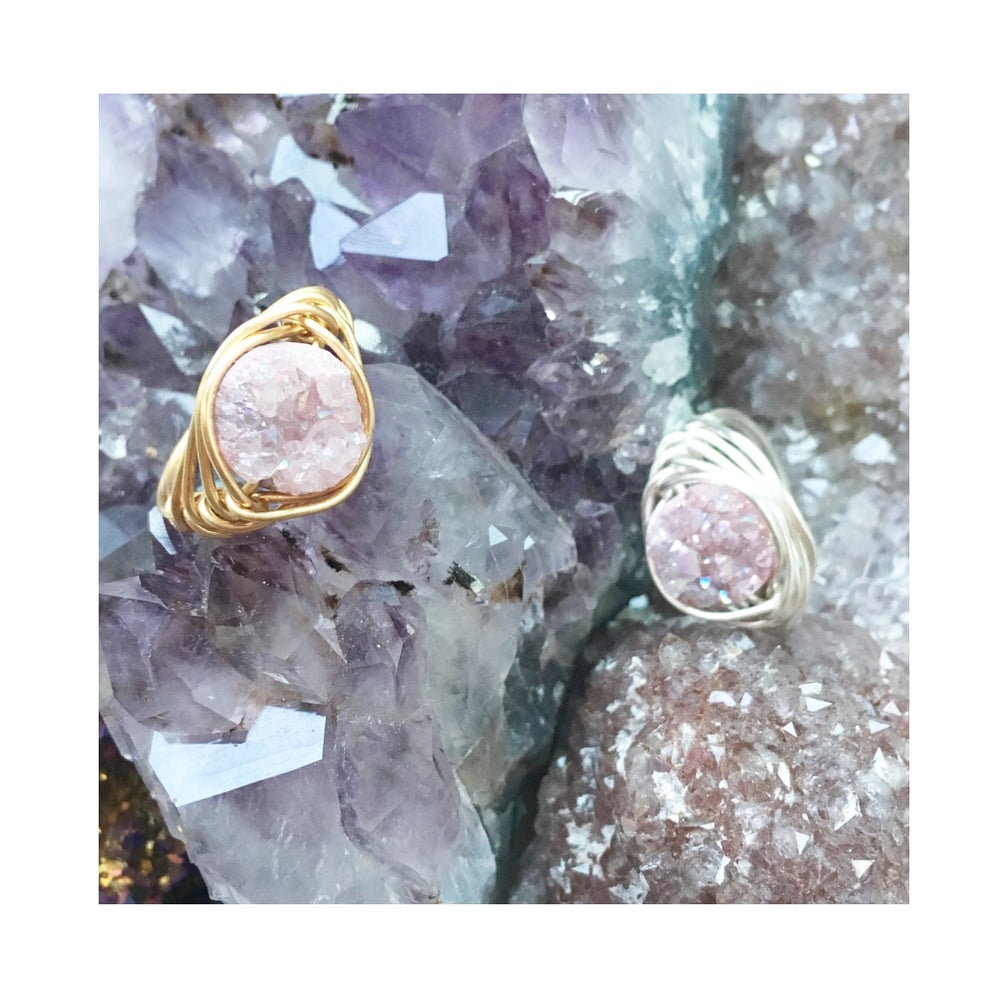 Image of Dusky Pink Cosmic Ring - Aura Agate Crystal BACK SOON