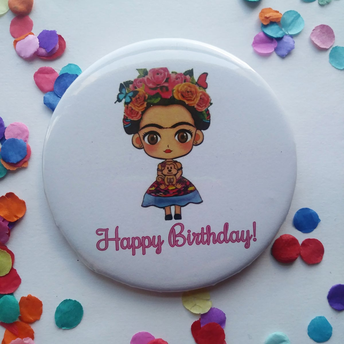 Image of Floral Happy Birthday Button