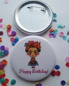 Floral Happy Birthday Button