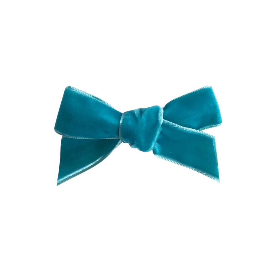 Image of Teal French Velvet Petit Bow Clip