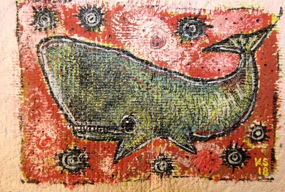 Image of ORIGINAL 5x7 Acrylic/Ink/Handmade Paper, 'Whale In The Sky' Series, Whale #2