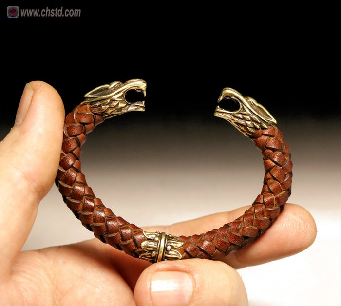 Leather Torc Bracelet / Wolfs / Brown