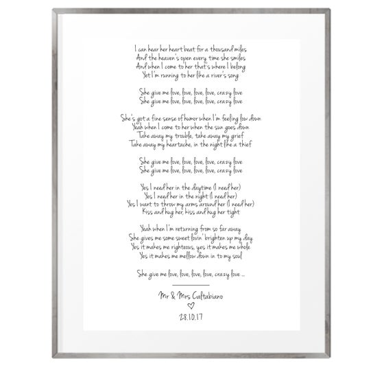 Image of Wedding song lyrics personalised print