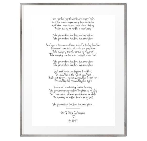 Image of Wedding song lyrics personalised print